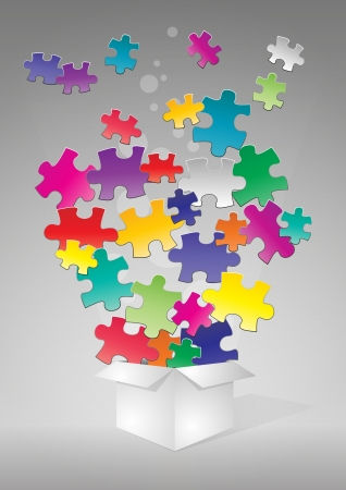 puzzle: illustration of box with colorful puzzle pieces
