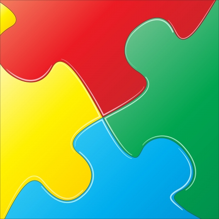jig: illustration of pieces of colorful puzzle