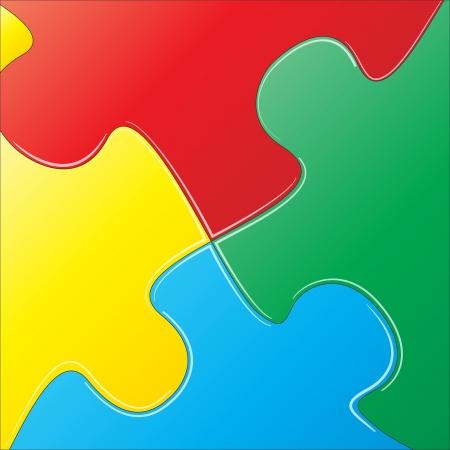 puzzle piece: ilustraci�n de las piezas del rompecabezas de colores