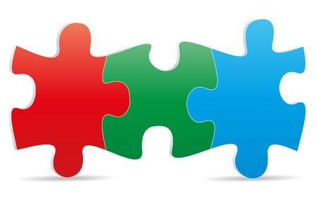 puzzle piece: ilustraci�n de rompecabezas de tres colores Vectores