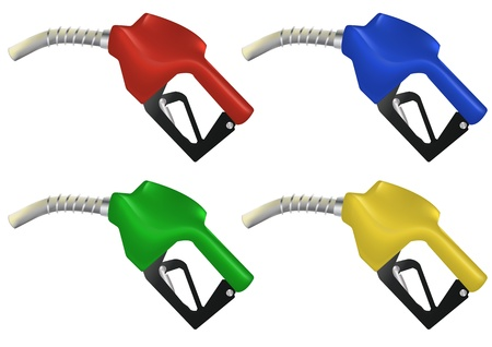 fuel economy: illustration set of color petrol pump Illustration