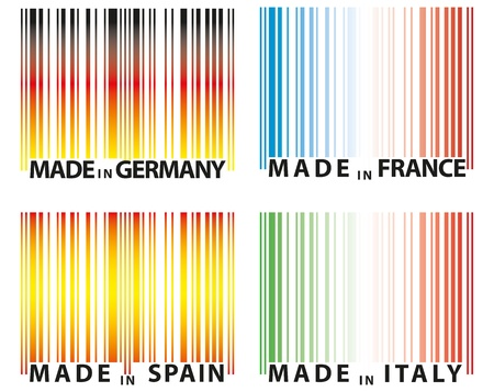 codebar: illustration set of barcode with color of nations Illustration