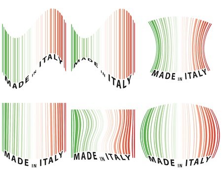 illustration set of barcode with color of italy Vector