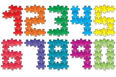 illustration set of color puzzle numbers Vector