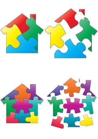 violet residential: illustration set of color puzzle house