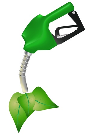 illustration of green petrol pump with leafs Stock Vector - 14505898
