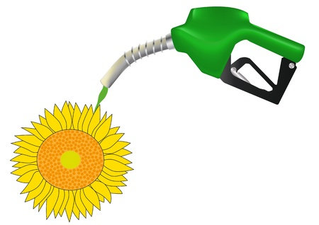 illustration of green petrol pump with sunflower Stock Vector - 14505897
