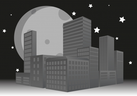 illustration of night city with big moon Vector
