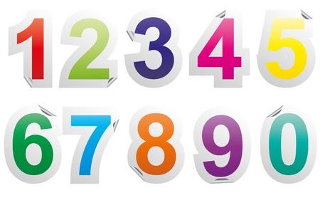 illustration set of colorful numbers sticker  イラスト・ベクター素材