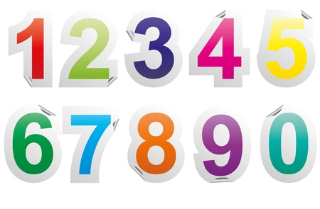 one colour: illustration set of colorful numbers sticker Illustration
