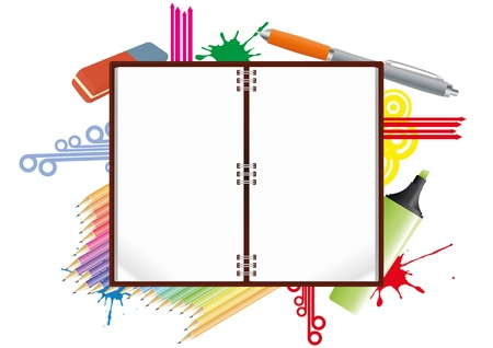 illustration of blank notebook with school object Stock Vector - 14634907
