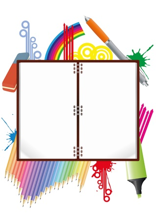 illustration of blank notebook with school object Stock Vector - 14634904