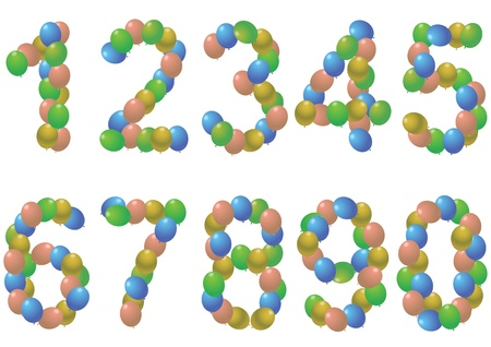 7 8: illustration set of colorful balloons numbers