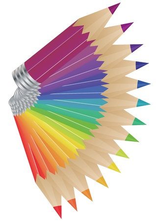 illustration of group of color pencils Vector