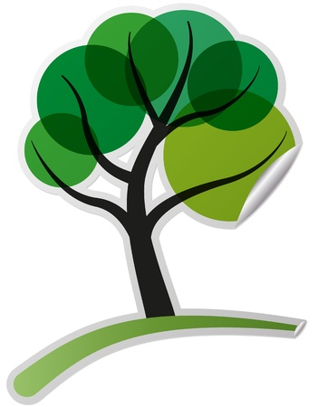 illustration of sticker of colorful tree