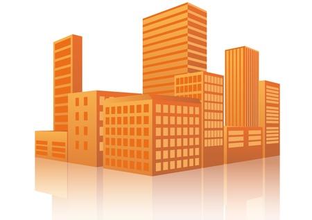 Ilustración de la ciudad en la puesta del sol con la reflexión Ilustración de vector