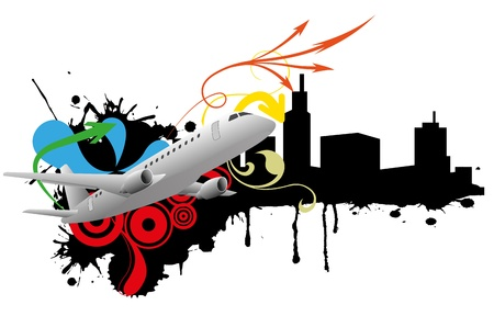 commercial airline: illustration of airplane with black skyline
