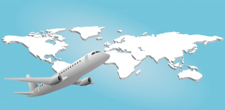 illustration of airplane with world in background Vector