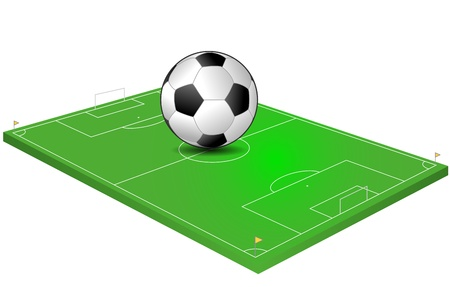 illustration of soccer field with giant ball Vector