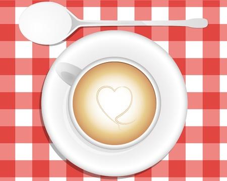 vista desde arriba: ilustraci�n de cappuccino, vista desde arriba Vectores