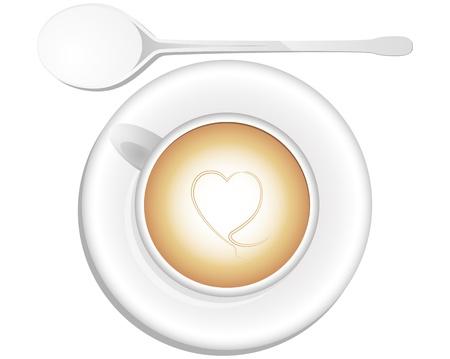 cappucino: illustratie van cappuccino, bekijken van boven Stock Illustratie