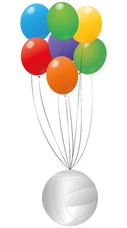 balon de voley: ilustración de voleibol con globos de colores Vectores