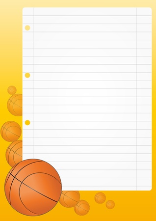 empty basket: illustration of blank sheet with basketball  Illustration