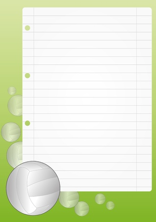 illustration of blank sheet with volley ball