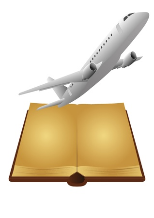 illustration of open ancient book with airplane