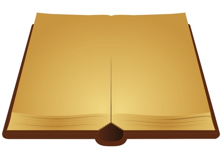 illustration of open ancient book with yellow pages