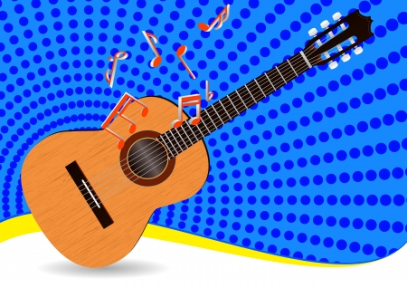 illustration of acoustic guitar with notes and blue background Vector