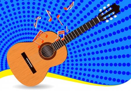 illustration de la guitare acoustique avec des notes et fond bleu