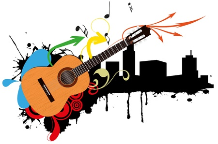 guitar pick: illustration of acoustic guitar with city skyline