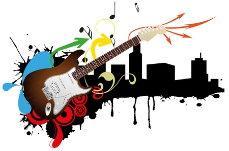 illustration of electric guitar with city skyline Vector