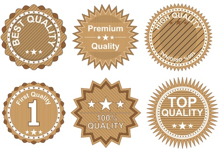 illustration set of  brown badges of quality Vector