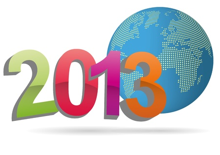 illustration of 2013 text with world in background Vector