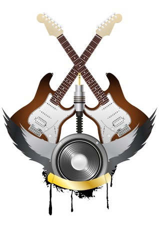 illustration of guitar and loudspeaker with wing and gold ribbon Stock Vector - 15219544