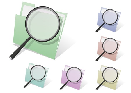 illustration set of folder with magnifier, different colors Vector