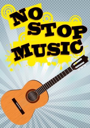 illustration of music poster concept with guitar Vector