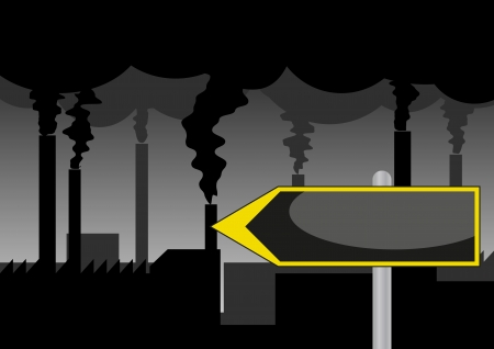 environmental issues: illustration of industry road sign with pollution