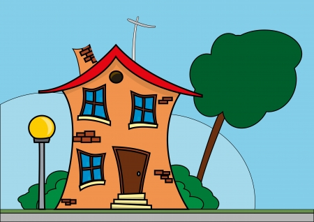 illustration of comic house with tree and blue sky Vector