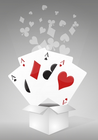 illustration of ace of the poker cards  in box Vector