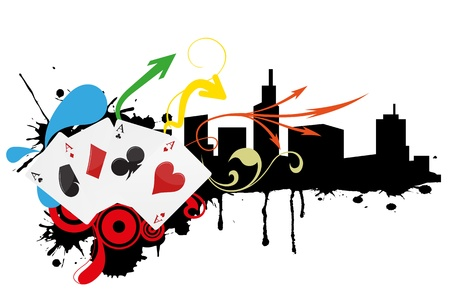illustration of aces play cards with skyline Vector