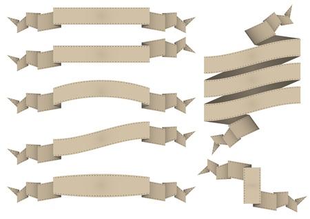 illustration set of brown vintage ribbon