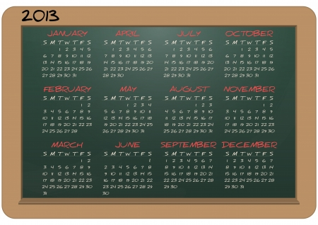 illustration of chalkboard with 2013 calendar Stock Vector - 15168006