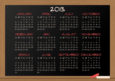 illustration of chalkboard with 2013 calendar Stock Vector - 15168005