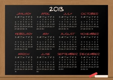 illustration of chalkboard with 2013 calendar Stock Vector - 15168005