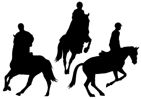 illustration set of horsback riding silhouette Vector
