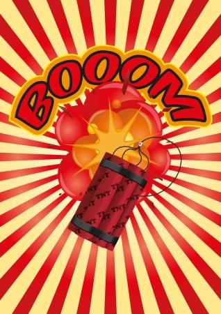 dinamita: ilustración de la dinamita con la explosión y el resplandor solar
