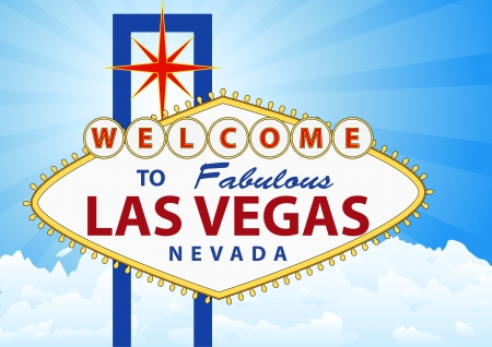 illustration of las vegas signal with cloud and sunburst in background Vector